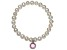 Cultured Freshwater Pearl 7-8mm With Pink Tourmaline Simulant Charm Stretch Bracelet
