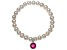 Cultured Freshwater Pearl 7-8mm With Ruby Simulant Charm Stretch Bracelet