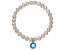 Cultured Freshwater Pearl 7-8mm With Blue Zircon Simulant Charm Stretch Bracelet