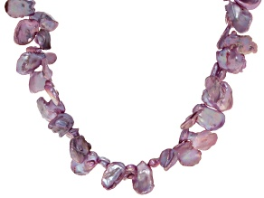 Orchid Cultured Keshi Freshwater Pearl Sterling Silver Necklace 24 inch