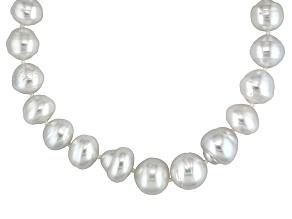 Baroque White Cultured South Sea Pearl Silver Necklace