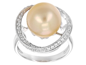 Golden Cultured South Sea Pearl With White Zircon Sterling Silver Ring