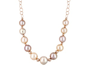 Multi Cultured Freshwater Pearl Rose Gold Over Silver Necklace