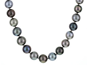 Multi Color Round Cultured Tahitian Pearl Silver Necklace