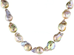 Purple Cultured Freshwater Pearl Silver Necklace With Extender