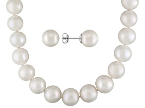 White Cultured Freshwater Pearl Silver Necklace And Earring Set 22 inch