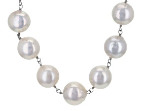 White Cultured Freshwater Pearl Rhodium Over Silver Necklace 20 inch