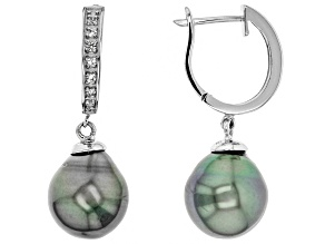 Cultured Tahitian Pearl White Topaz Rhodium Over Sterling Silver Earring