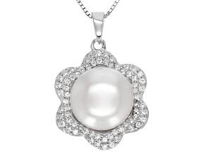 White Cultured Freshwater Pearl, Diamond Simulant Silver Pendant