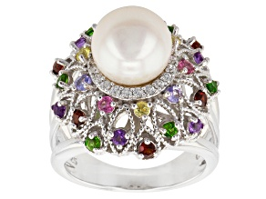 Cultured Freshwater Pearl, Multi-Gem Rhodium Over Silver Ring