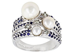 White Cultured Freshwater Pearl, Sapphire Synthetic Silver Ring