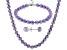 Lavender Cultured Freshwater Pearl Silver Necklace, Bracelet, Earring Set
