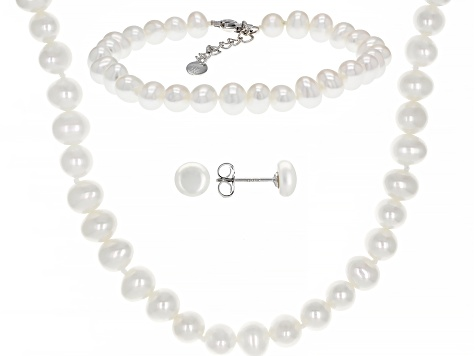 White Cultured Freshwater Pearl Rhodium Over Sterling Silver Necklace, Bracelet, Earring Set