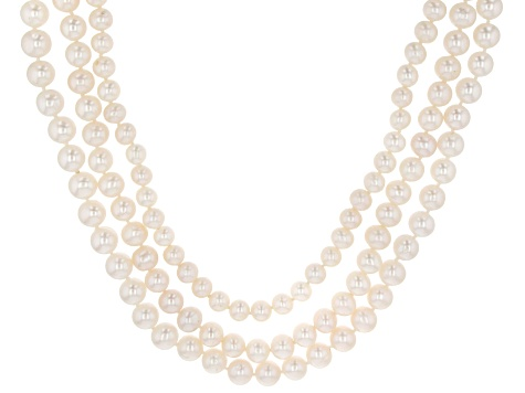 White Cultured Freshwater Pearl 14k Yellow Gold Multi-Strand Necklace