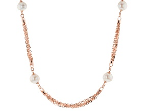 White Cultured Freshwater Pearl 18k Rose Gold Over Bronze Necklace