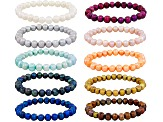 White Black Pink Orange Blue Green Brown Silver Pearl Stretch Bracelet Set Of 10