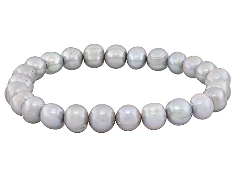 Stunning Pink Pearl stretch bracelet in sterling silver