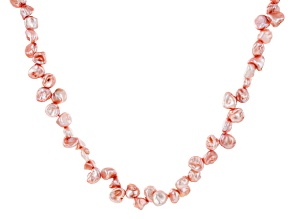 Pink Cultured Keshi Freshwater Pearl Endless Strand Necklace 72 inch