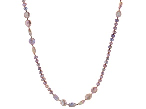 Lavender Cultured Freshwater Pearl Rhodium Over Silver Necklace 36 inch