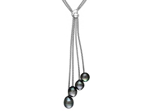 Cultured Tahitian Pearl Rhodium Over Silver Y-Neck Tassel Necklace 26 inch