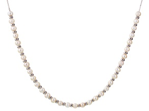 White Cultured Freshwater Pearl Silver Sliding Adjustable Necklace