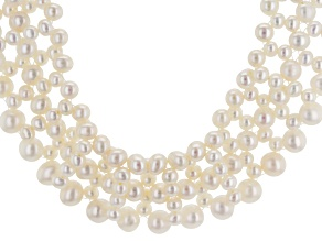 White Cultured Freshwater Pearl Rhodium Over Silver Bib Necklace 16 inch