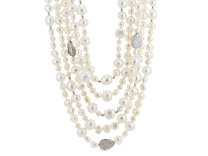 White Cultured Freshwater Pearl, Diamond Simulant Silver Necklace 20 inch