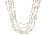 White Cultured Freshwater Pearl Silver Multi-Strand Necklace 20 inch