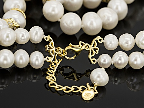 White Cultured Freshwater Pearl 18k Gold Over Silver Necklace 18 inch