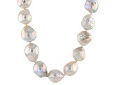 White Cultured Freshwater Pearl Sterling Silver Strand Necklace 22 inch