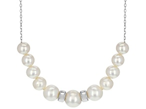White Cultured Freshwater Pearl Rhodium Over Silver Necklace 18 inch