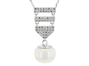 White Cultured Freshwater Pearl, White Zircon Silver Dangle Necklace 18 inch