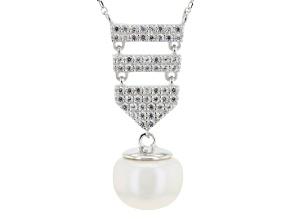 White Cultured Freshwater Pearl, White Zircon Silver Dangle Necklace 18 inch