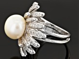 White Cultured Freshwater Pearl, White Zircon Rhodium Over Silver Ring