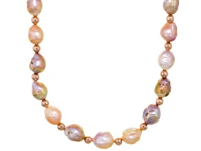 Multi-Color Cultured Freshwater Pearl 18k Rose Gold Over Silver Necklace