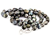 Silver Cultured Tahitian Pearl Rhodium Over Silver Strand Necklace 36 inch