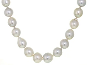 White Cultured Australian South Sea Pearl, 14k White Gold Strand Necklace 17 inch