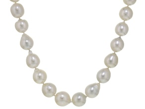 White Cultured Australian South Sea Pearl 14k White Gold Strand Necklace 17 inch