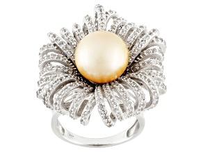 Golden Cultured South Sea Pearl, White Topaz Silver Ring