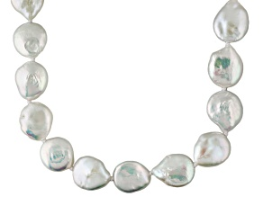 White Cultured Freshwater Pearl Sterling Silver Strand Necklace 36 inch