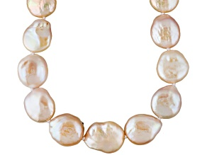 Natural Multi-Pink Cultured Freshwater Pearl Silver Strand Necklace 36 inch