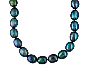 Black Cultured Freshwater Pearl Sterling Silver Strand Necklace 18 inch