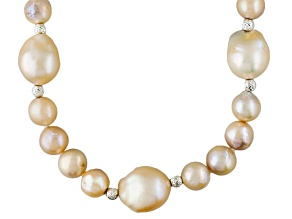 Baroque Peach Cultured Freshwater Pearl Silver Station Necklace 22 inch