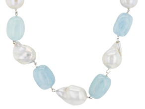 White Cultured Freshwater Pearl, Aquamarine Silver Necklace 18 inch