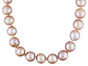 Pink Cultured Freshwater Pearl Sterling Silver Strand Necklace 18 inch