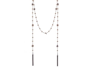 White Cultured Freshwater Pearl Sterling Silver Lariat Necklace 60 inch