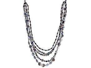 Multi-Color Cultured Freshwater Pearl Silver Multi-Strand Necklace 18 inch