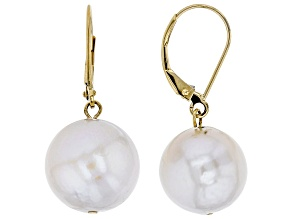 White Cultured Freshwater Pearl 14k Yellow Gold Dangle Earring