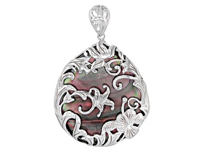Black Mother-Of-Pearl Sterling Silver Filigree Flower Pendant