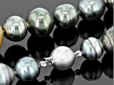 Cultured Tahitian Pearl, Cultured South Sea Pearl Silver 50 inch Necklace